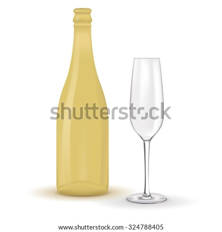 Champagne glass empty and wine bottle empty. Vector isolated on white background.. - stock vector
