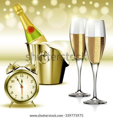 Champagne glasses ready to bring in the New Year. Vector illustration - stock vector