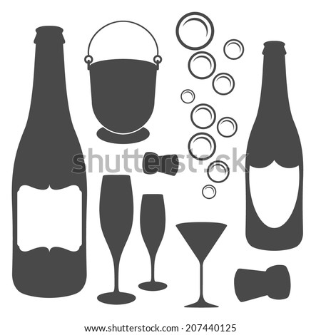 champagne icons - stock vector