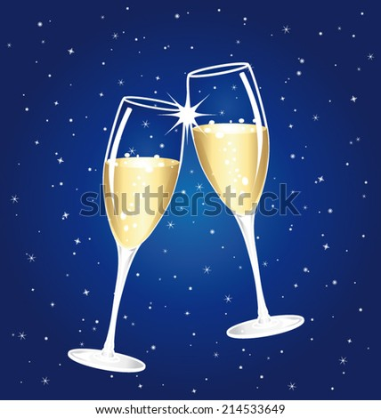 Champagne toast cups. Blue starry night vector background.  - stock vector