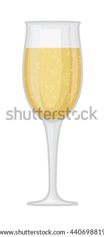 Champagne wine in a glass isolated on white background and vector drink. Glass of champagne alcohol beverage celebration grape merlot. Gourmet restaurant party alcohol champagne. - stock vector