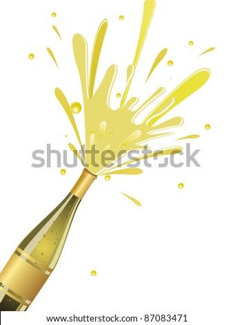 champange explosion on white background - stock vector
