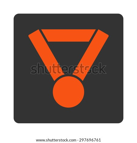 Champion award icon from Award Buttons OverColor Set. Icon style is orange and gray colors, flat rounded square button, white background.