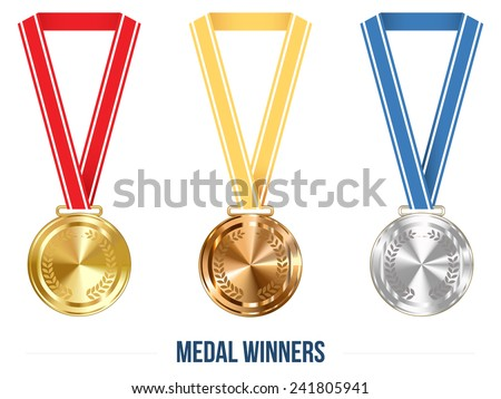 Champion Medal with  Ribbon. Vector illustration - stock vector
