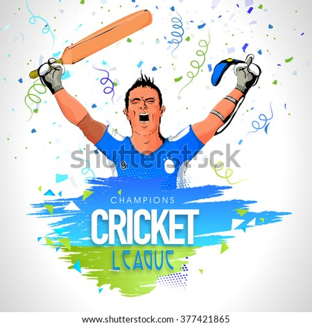 Champions Cricket League concept with illustration of a Batsman in winning pose on grey background. - stock vector