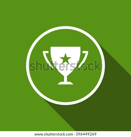 champions cup flat icon with long shadow. vector illustration