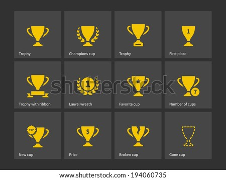 Champions trophy icons. Vector illustration. - stock vector