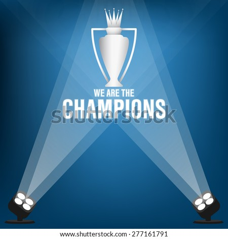 Champions trophy on stage with spotlight, Vector illustration - stock vector
