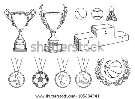 championship items vector set - stock vector