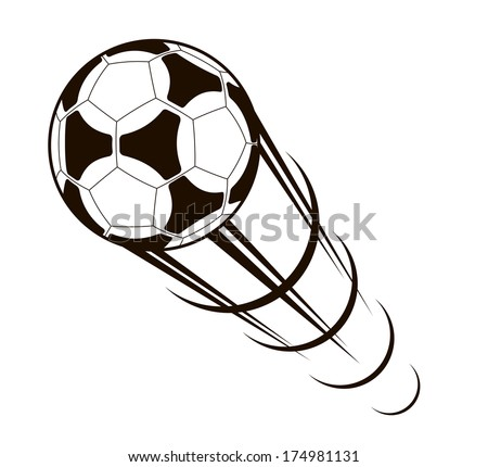 Championship soccer ball zooming through the air with a long speed trail behind it, black and white cartoon illustration - stock vector