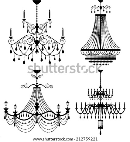 Chandelier Lamp Vector Stock Vector 212759221 - Shutterstock