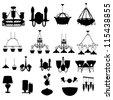 chandelier silhouette vector illustration - stock vector