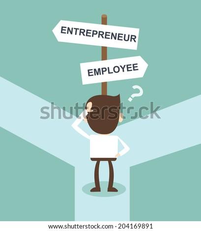change career directions employee entrepreneur street direction sign - stock vector