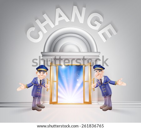 Change concept of a doormen hoding open a door to change with light streaming through it. - stock vector