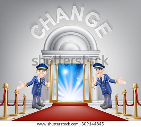 Change door concept of a doormen holding open a door at a red carpet entrance with velvet ropes. Light streaming through it, could be the door to the new future. - stock vector