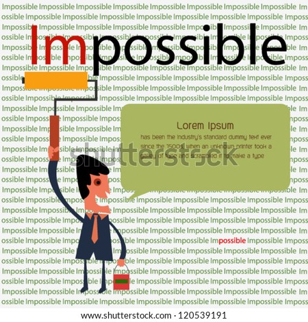 Change impossible to possible - stock vector