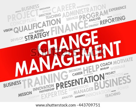 Change management word cloud collage, business concept background - stock vector