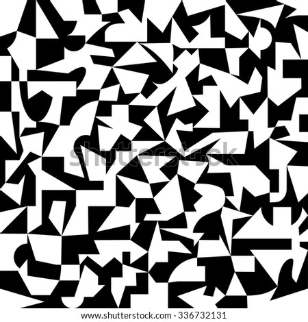 chaotic black and white pattern of geometric shapes, dynamic geo