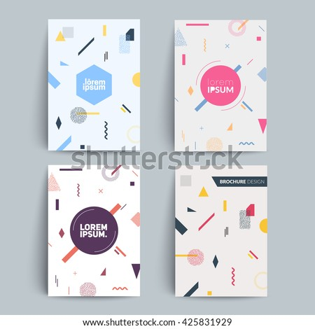 Chaotic geometry backgrounds set. Applicable for covers, placards, posters, flyers and banner designs. A4 fromat,eps10 vector templates. - stock vector