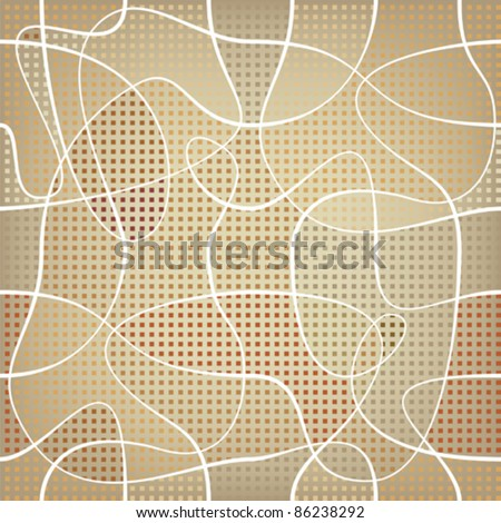chaotic ribbon over mosaic colored backdrop. repetition background - stock vector