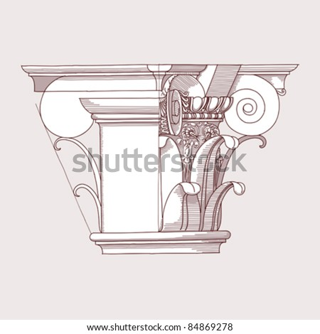 """Chapiter- hand draw sketch composite architectural order based """"The Five Orders of Architecture"""" is a book on architecture by Giacomo Barozzi da Vignola from 1593. Vector illustration. - stock vector"""