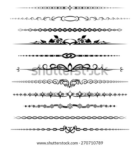 Chapter dividers set. Element retro decoration vintage calligraphic, vector illustration - stock vector