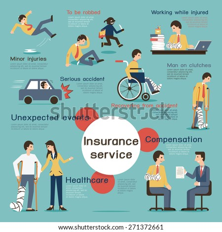 Character and flat design with infographic elements in insurance concept.  - stock vector