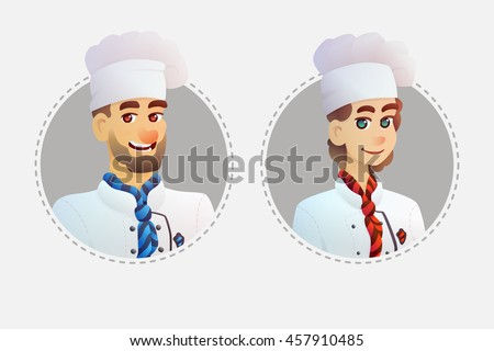 Character avatars chef restaurant. Cartoon illustration style. - stock vector