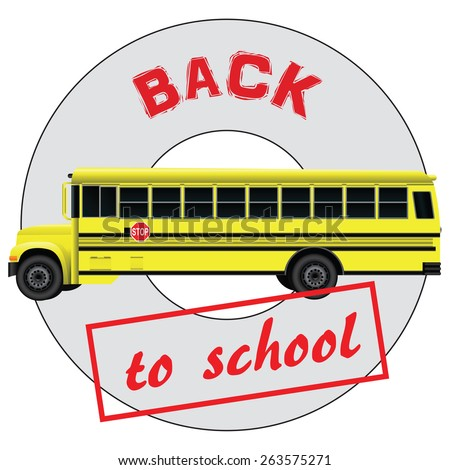 Character back to school and the school bus. Vector illustration. - stock vector