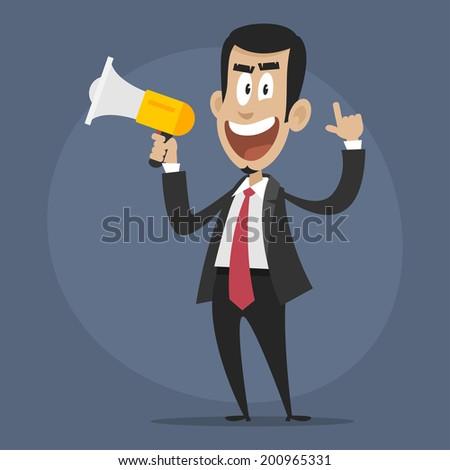 Character businessman disgruntled speaks in megaphone - stock vector