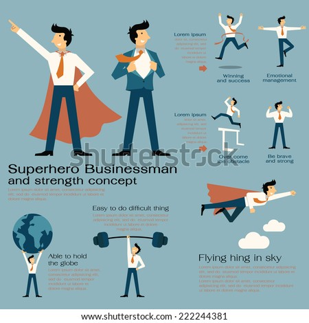 Character cartoon set of superhero businessman with in strength concept, be strong, winning, powerful man, flying high, concentration, and get over the obstacle. Flat design.  - stock vector