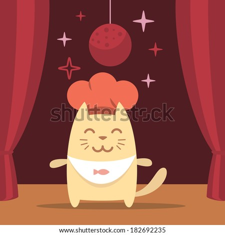 Character chef in a chef's hat colorful flat. Cat male performs on stage - stock vector