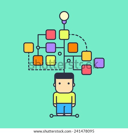 character creates a logical chain and looking for an answer. abstract conceptual illustration. - stock vector