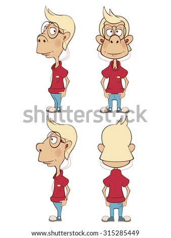 Character cute cartoon boy  for a computer game - stock vector