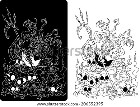 Character design Halloween cartoon devil White and Black - stock vector