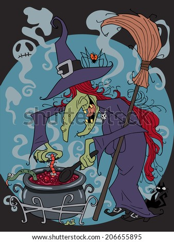 Character design Halloween cartoon witch