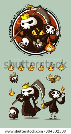 Character Design Halloween Set : MESSENGER OF DEATH and Friend