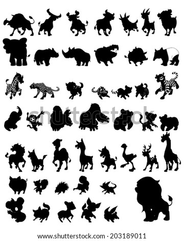 Character design Set of animals silhouettes - stock vector