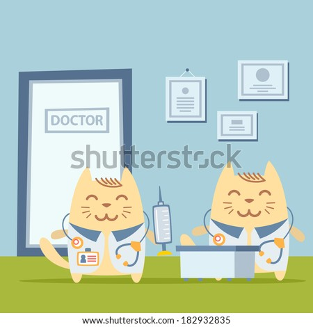 Character doctor in medical coat with a stethoscope colorful flat. Cat male stands the doctor's office at the table holding a syringe - stock vector