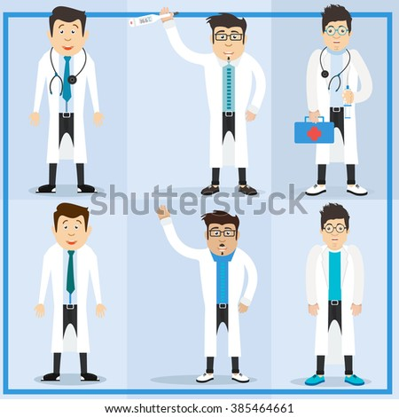 Character doctor. Male doctor character set. Doctor hipster. Doctor with a syringe. Doctor with stethoscope. A cute doctor character.