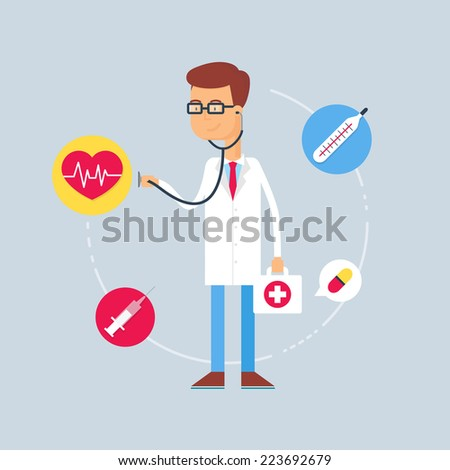Character - doctor, medical concept. Vector illustration, flat style  - stock vector