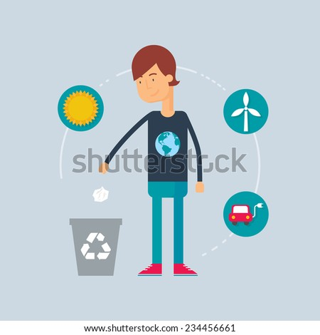 Character - ecologist. Vector illustration, flat style - stock vector