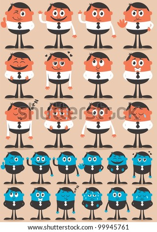 Character Emotions 2: Retro businessman character in 12 different emotions and 24 versions. Easy to change colors. No transparency and gradients used. - stock vector