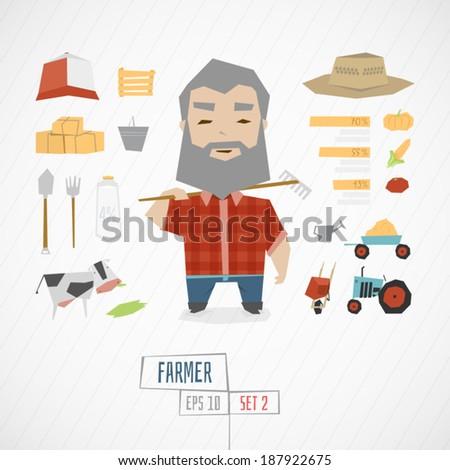 Character farmer vector illustration  - stock vector
