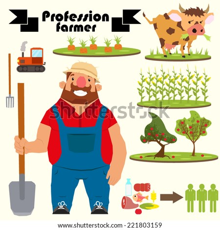 Character farmer. vector illustration in a flat style. - stock vector