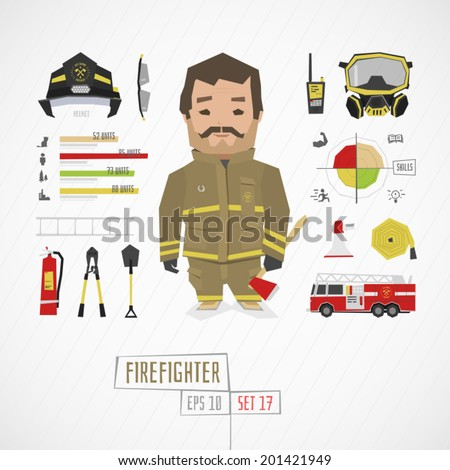 Character firefighter vector illustration - stock vector