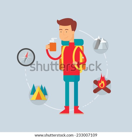 Character - hiker, camping concept. Vector illustration, flat style  - stock vector