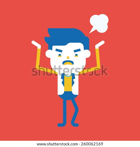 Character illustration design. Businessman angry cartoon
