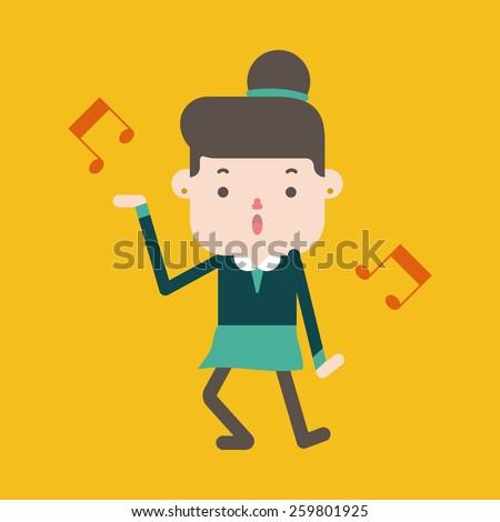 Character illustration design. businesswoman joyful cartoon - stock vector