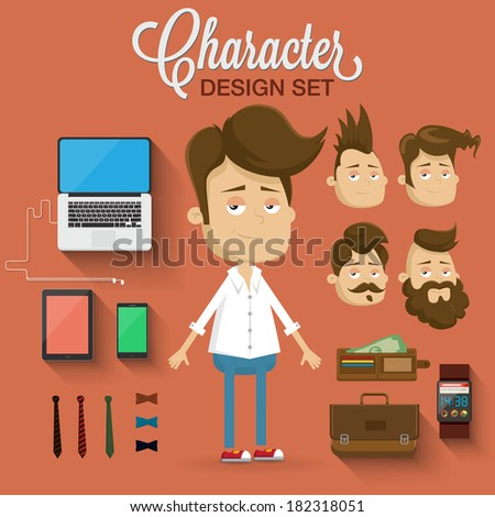 Character illustration. Vector elements and icons - stock vector